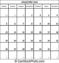 planificateur, janvier, mois, fond, 2014, calendrier, transparent