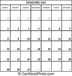 planificateur, janvier, mois, fond, calendrier, 2017, transparent