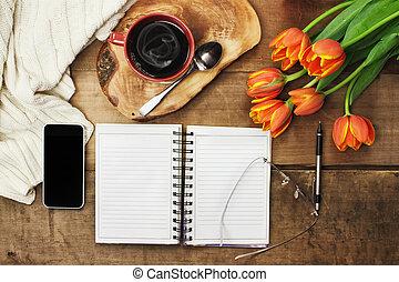 planificateur, jour, café
