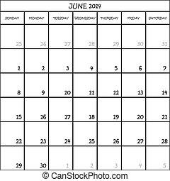planificateur, juin, mois, fond, 2014, calendrier, transparent