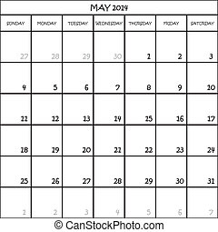 planificateur, mai, mois, fond, 2014, calendrier, transparent