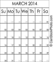 planificateur, mars, grand, costumizable, eps, fichier, 2014, calendrier