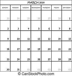 planificateur, mars, mois, fond, 2014, calendrier, transparent