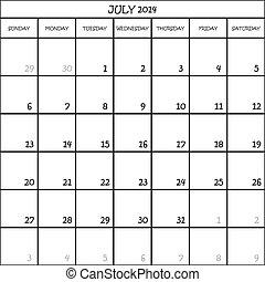 planificateur, mois, fond, 2014, calendrier, juillet, transparent