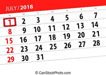 planificateur, semaine, 1, date limite, 2018, calendrier, dimanche, mois, juillet, jour