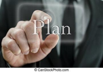 planification, concept, business, réussi, business., boutonner, main, urgent, plan, interface., toucher, fin, écran, homme