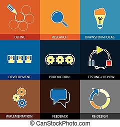 planification, plat, concept, lin, ingénierie, -, projet, vecteur, logiciel