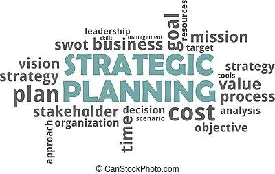 planification, -, stratégique, mot, nuage