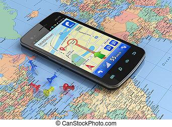 planisphère, gps, smartphone, navigation
