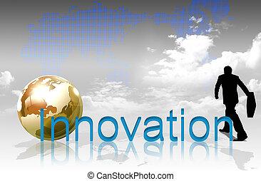 planisphère, innovation, mot, fond