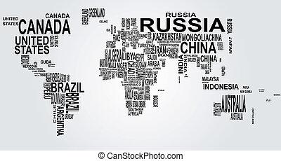 planisphère, nom, pays