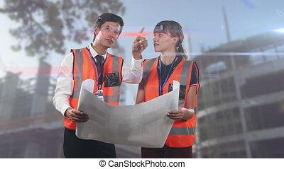 plans, mâle, ingénieurs, architectes, architectural, femme, animation, tenue