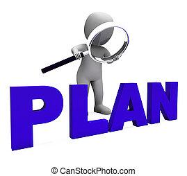 plans, objectifs, caractère, planification, plan, organiser, spectacles