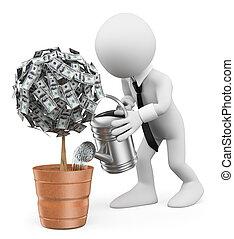 plante, argent, gens., arrosage, homme affaires, blanc, 3d