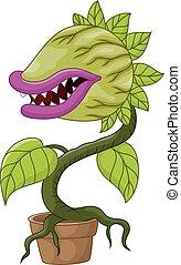 plante, carnivore, dessin animé