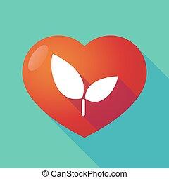 plante, coeur, rouges, long, ombre