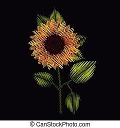 plante, coloré, tournesol, arrière-plan noir, broderie