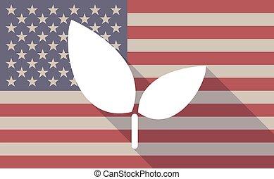 plante, drapeau, usa, icône