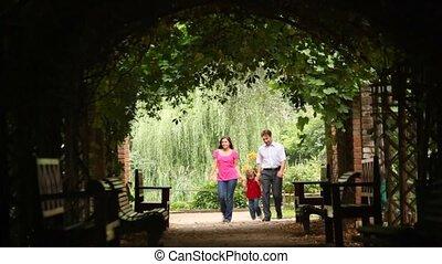 plante, famille, tunnel, promenade, vue frontale