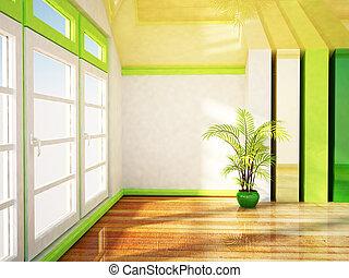plante, fenêtre, grand