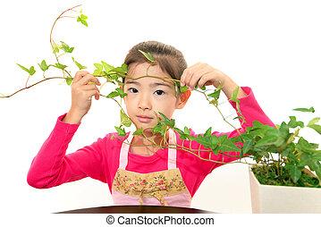 plante, fille souriante, asiatique
