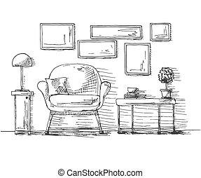 plante, frame., cup., dessiné, mur, pendre, croquis, illustration, main, vecteur, chaise, table, style