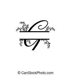 plante, g, initiale, vecteur, monogram, fente, lettre, décoratif