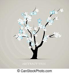 plante, graphique, fleur, résumé, arbre, printemps, vecteur, fond, art.