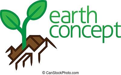 plante, icône, concept, croissant, plant, la terre, dehors