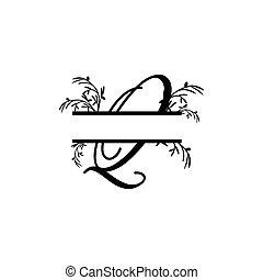 plante, initiale, q, vecteur, monogram, fente, lettre, décoratif