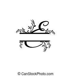 plante, initiale, vecteur, monogram, fente, e, lettre, décoratif
