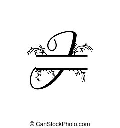plante, initiale, vecteur, monogram, fente, j, lettre, décoratif