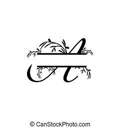plante, initiale, vecteur, monogram, fente, lettre, décoratif