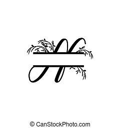 plante, initiale, vecteur, monogram, fente, lettre, décoratif, n