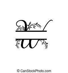 plante, initiale, vecteur, monogram, fente, lettre, décoratif, w