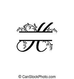 plante, initiale, vecteur, monogram, fente, lettre h, décoratif
