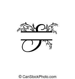 plante, initiale, vecteur, monogram, fente, lettre s, décoratif