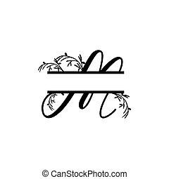 plante, initiale, vecteur, monogram, fente, m, lettre, décoratif