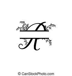 plante, initiale, vecteur, monogram, fente, r, lettre, décoratif