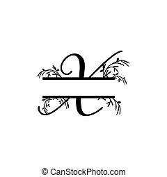 plante, initiale, x, vecteur, monogram, fente, lettre, décoratif