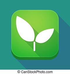 plante, ombre, app, long, icône