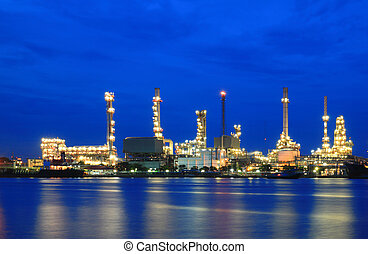 plante, raffinerie, secteur, crépuscule