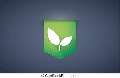 plante, ruban, ombre, long, icône