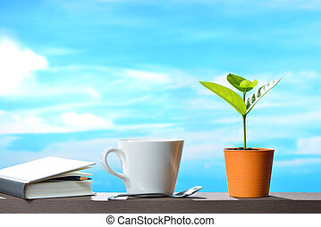 plante, tasse, pot, ciel, jeune, livre, café, fond
