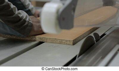 plante, travail bois, scies, moderne, machine, découpage, table, panneaux, glissement, meubles