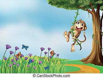 plante, vigne, singe, pendre