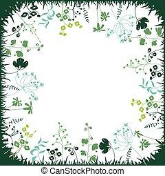 plants., carrée, silhouette, floral, résumé, gabarit, stylisé, herbes, usines