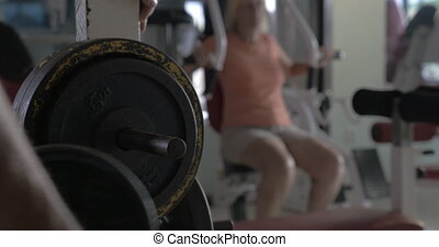 plaque, bar-bell, poids, fixation