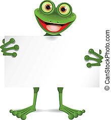 plaque, blanc, grenouille