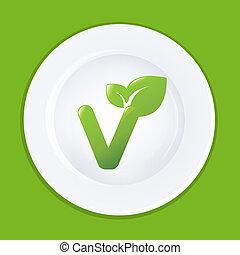 plaque, blanc, vegan, signe